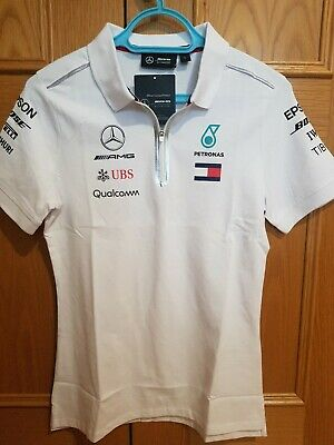 Mercedes AMG Petronas Motorsport Team Ladies T-shirt White - Large Bnwt New