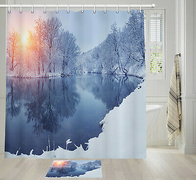 Snow covered forest road Shower Curtain Bathroom Decor Fabric /& 12hooks 71x71in
