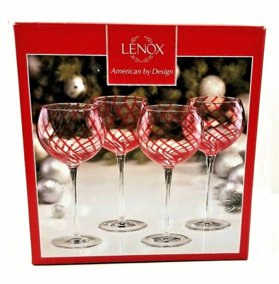 Lenox Holiday Jewel Balloon Wine Glasses Red Stripe Set of 4 NEW in Box