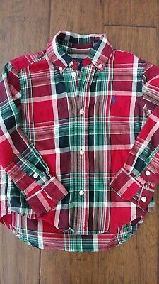 Polo Ralph Lauren Toddler Boy Plaid Holiday Button Down Shirt 3T