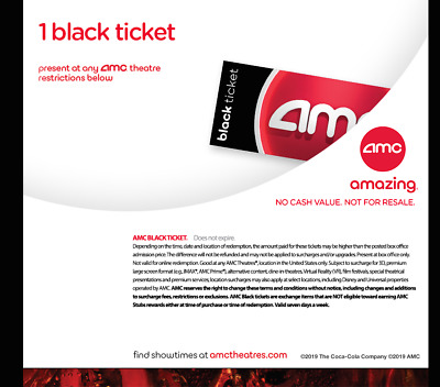 4 AMC Black Movie Tickets, 4 Free Large Drinks, 4 Free Large Popcorns