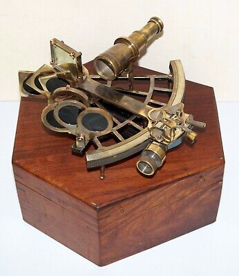 Solid brass sextant nautical marine vintage navigation ship astrolabe wooden box