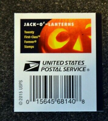 2016USA #5137-5140 Forever Jack O'Lanterns - Block of 4 With Label on Back