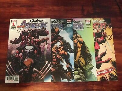 SAVAGE AVENGERS # 1,2,3,3 Marvel Comics 2019 4 Book Lot Finch Carnageized 2019