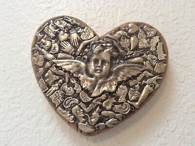 "6"" Heart, Weathered Wood, Silver Color Milagros With Light Patina Hand Made."