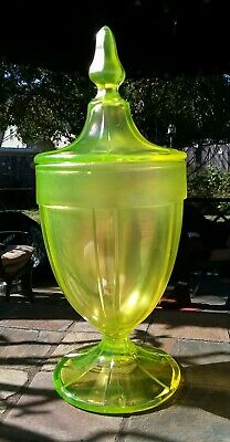 VINTAGE FENTON VASELINE GLASS 1920's COVERED CANDY DISH LID. EXCELLENT CONDITION