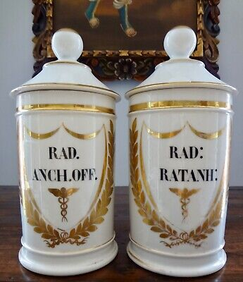 Pair Antique 19th Century VIGNIER French porcelain apothecary Drug Jars