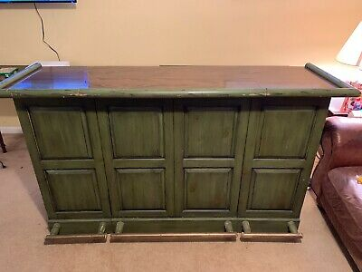 Vintage Ethan Allen Old Tavern Dark Pine Green Fold Out Bar w Brass Foot Rails