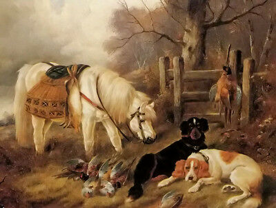 Dream-art Oil painting john gifford - at the end of a days sport horse dog prey