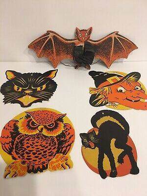 Vintage Halloween Die Cut Outs Beistle Bat Honeycomb Cats Witch Owl 50's Rare
