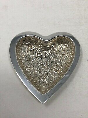Stieff Floral Rose Repousse Sterling Silver Heart Shape Pin Ring Dish Tray