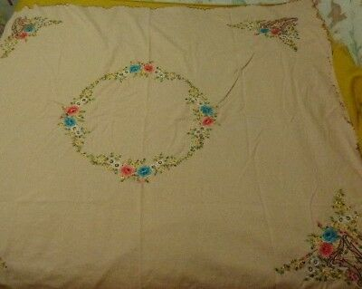 Vtg Embroidered Floral Tan Blue Pink Scallop Tablecloth Table Cloth w/ napkins