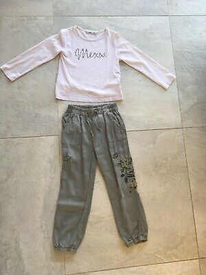 Next Karki Stone Wash Summer Casual Trousers & Mexx Top Age 4-5 Years