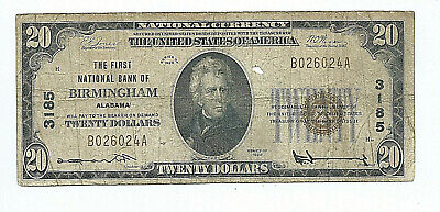 The First National Bank Of Birmingham, Alabama == 1929 $20.00 National Banknote