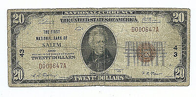 The First National Bank Of Salem, Ohio == 1929 $20.00 National Banknote