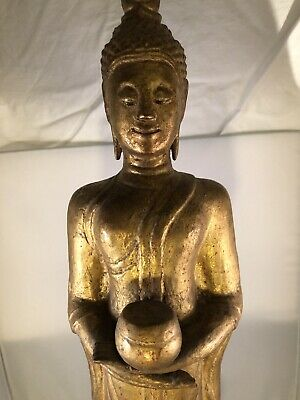 Antique Carved Wood Buddha Figure, 17th to 18th Century With Official Certified