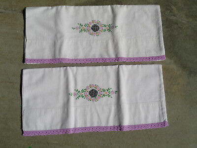 Vintage Pair of Pillowcases Hand Embroidered Crochet Lavender Cotton Flowers