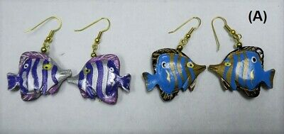 Clearance-2 Hand Carved Hand Painted Double Side Wooden Angel Fish Earrings-New
