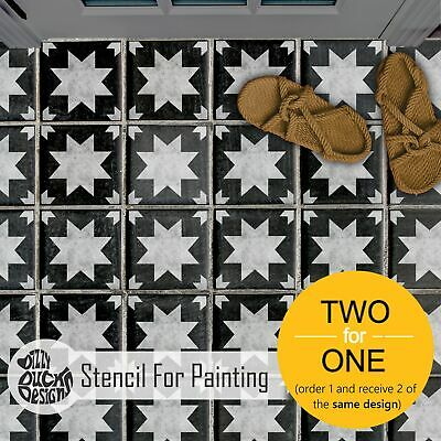 KALLAT Star Geometric Tile Stencil for Paint Bathroom Kitchen Patio Walls Floor