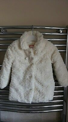 Mothercare Baby Girls Cream Faux Fur Coat 18-24 Months