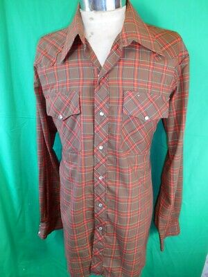 Vintage Brown & Red Plaid Poly/Cotton RM Williams Western Cowboy Shirt Snaps XL