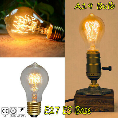 E27 ES B22 BC Retro Edison A19 Bulbs Dimmable Tungsten Filament Lamp Home 40/60W
