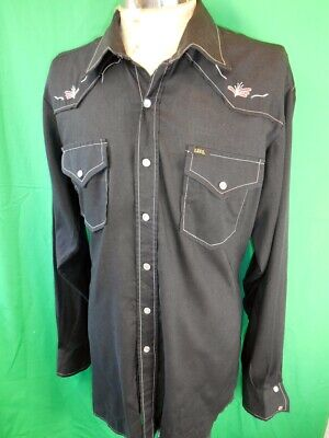 Vintage Black Embroidered Lee Poly/Cotton Western Cowboy Shirt Made in N.Z. XL