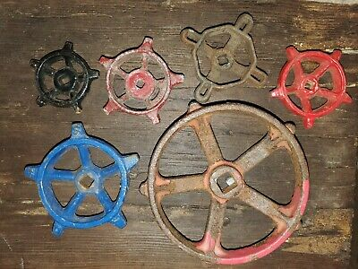 """6 Vintage Valve Handles 2 1/4"""" - 5"""" Architectural Nautical Ship Whee Industrial"""