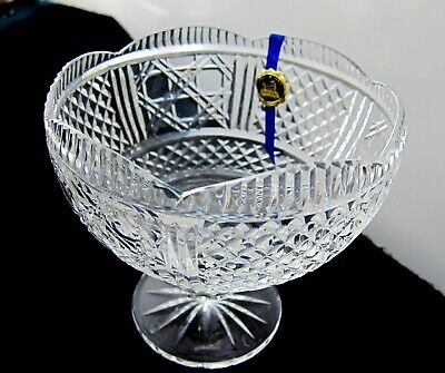 New Tipperary Cut Crystal Of Kings Compote Pedestal Bowl Made In Ireland