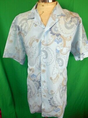 Vintage 80s Blue Patterned Short Sleeve Polyester Pacifica Tiki Style Shirt XL