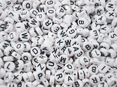 Alphabet Beads 500pc Round White/Black Letters Kids Jewellery Party FREE POSTAGE