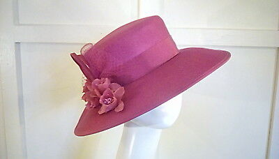 vintage wedding races occasion hat cerise