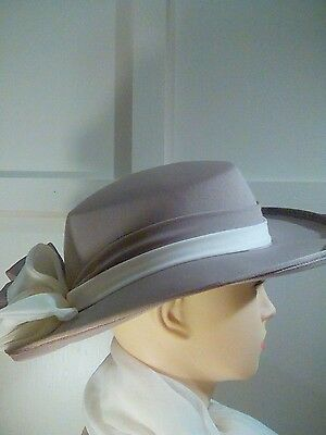 Vintage wedding/races hat - kangol - coffee and cream