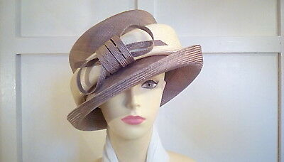 wedding races occasion stylish hat Graham Smith for kangol brown/cream