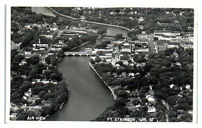 RPPC Air View, Fort Atkinson, WI Real Photo Postcard *5Y2