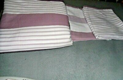 Fab Double size lilac/white striped print reversible duvet cover  set USED