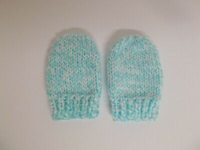 Hand Knitted Baby Mittens Mint White Marl Effect Newborn Baby or Reborn Doll