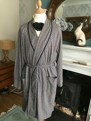 "DRESSING GOWN  robe smoking jacket cotton large 42/44"" chest art deco dandy"