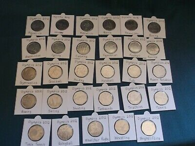 Full Set Of 29 London 2012 Olympic 50p Fifty Pence Coins Circulated