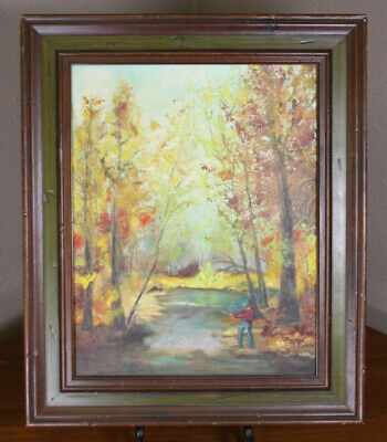 Antique Vtg 1978 Fishing Landscape Oil Painting on Canvas Board Signed Richle