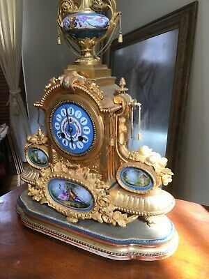 Beautiful Antique French Ormolou Sevres Mantel Clock