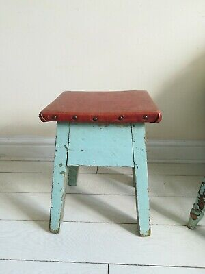 Antique Victorian Country Elm Stool,  Country Stool with turned legs rustic rare