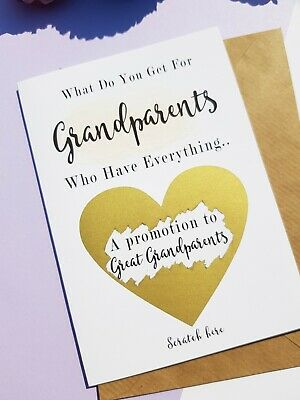 Pregnancy announcement card grandparents promoted to great grandparents PA22