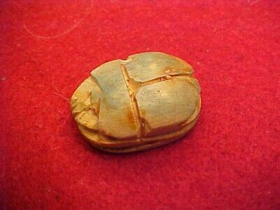 Carved Green Steatite Egyptian Scarab