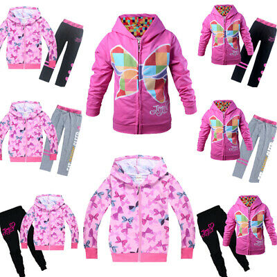 JoJo Siwa Girls Zipper Hoodies Casual Cartoon Top Sweatshirt Clothes+trousers UK