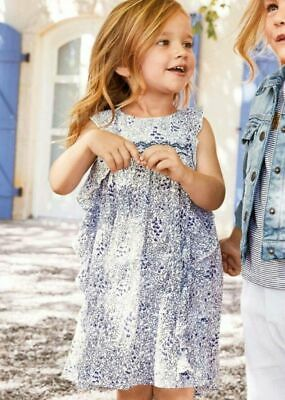 Next BNWT Baby Girls 3-4 years floral ditsy ruffle summer dress sparkle blue