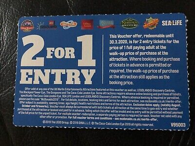 Vouchers of 2 For 1 Entry At UK Merlin attractions