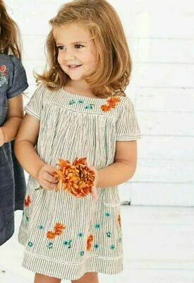 Next BNWT baby girl embroidered Dress ,summer sequin fish Size 3-4 years