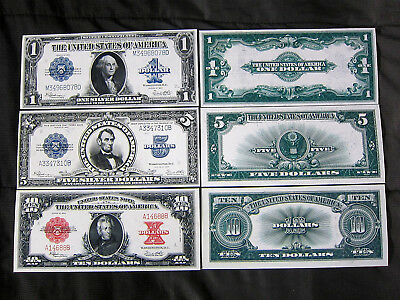 1923 Silver Certificate $1,5,and $10 United States note copy Reprint Set