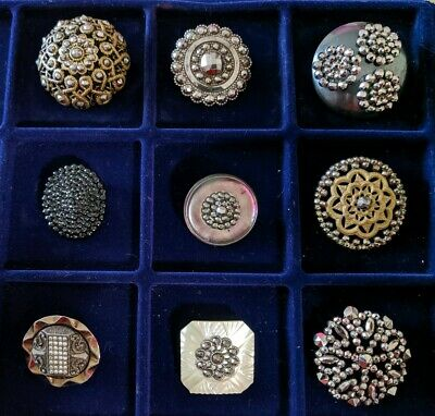 Large Antique Brass Button Collection Lot MOP Cut Steels Inlay Victorian Openwrk